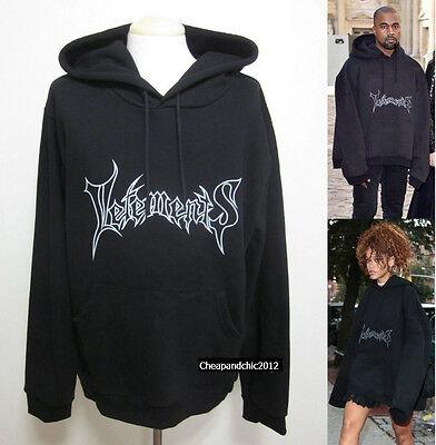 New Oversized Vetements Print Hoodie Hooded Sweatshirts Black Regular Cuffs