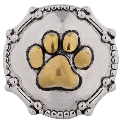 Silver Gold Dog Paw Pet Bones 20mm Snap Charm For Ginger Snaps Magnolia Vine