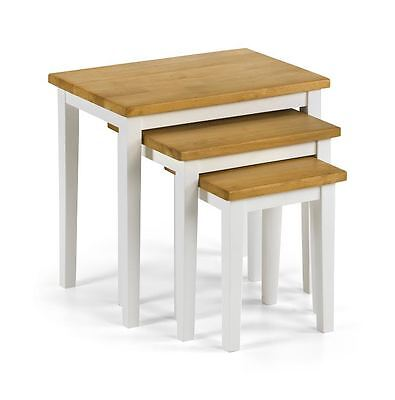 New Julian Bowen Cleo Oak White Nest of Tables Solid Rubberwood - Free Delivery