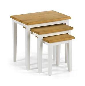 New Julian Bowen Cleo Oak White Nest of Tables Solid Rubberwood - Free Delivery