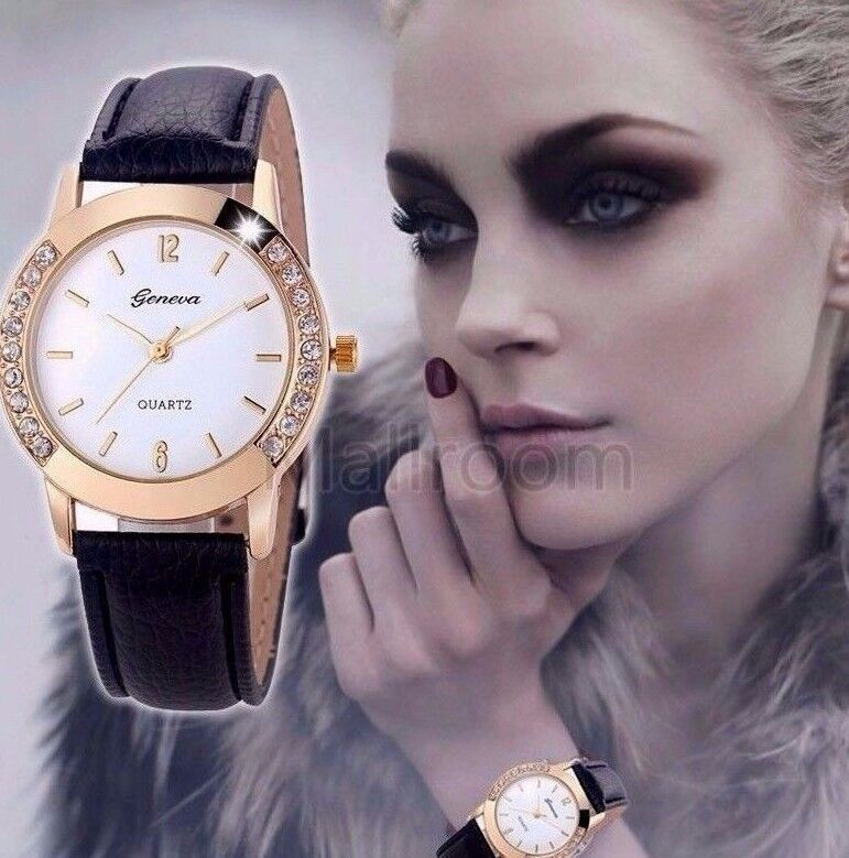 Luxury Diamond Gold Stainless Black Leather Women Quartz Watch Dress Fashion