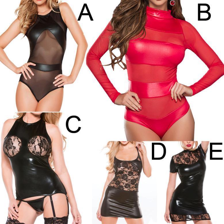 Women Wet Look Sexy Backless Mini Dress Faux Leather Bodysuit Clubwear Dress