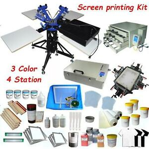 4 color Screen Printing Press Kit Double Rotary Equipment with Materials&Flash Dryer 006888