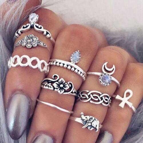 Jewellery - 10pcs/Set Women Boho Elephant Knuckle Ring Midi Gothic Finger Rings Set Gift AU