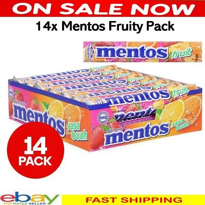 14x Mentos Fruit Roll Candy Lolly Kids School Office Party Pack Fruity Flavour