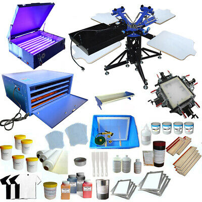 3 Color Silk Screen Printing Kit Screen Printer T-shirt Printing Press Bundle