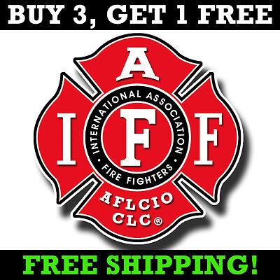 "IAFF 4"" Decal - Firefighter Maltese Cross Sticker AFL-CIO Bumper Sticker"