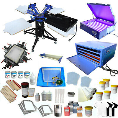 3 Color 4 Station Screen Printing Kit W Exposrue Screen Stretcher Flash Dryer