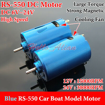 Dc 12v 24v 30000rpm High Speed Large Torque Rs-550 Electric Dc Motor Diy Car Toy