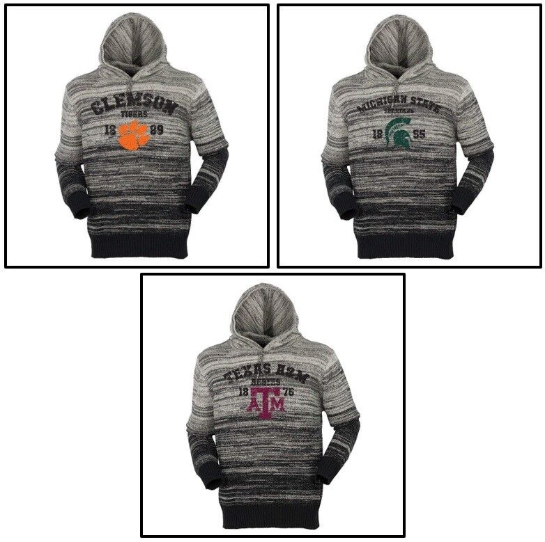 Mens Gradient Hooded Sweater Clemson Tigers, A&M Aggies, Michigan State Spartans
