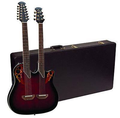 NEW Ovation CSE225-RRB Double-Neck Celebrity Acoustic-Electric Guitar +Hard Case