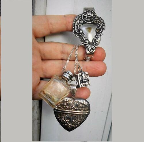 Poison Bottle CHATELAINE Tiny Corked Snuff, Ashes, Hinged Heart Box, Heart clip