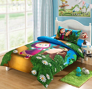 masha and the bear duvet cover set with sheet and pillowcase 956001 6. Black Bedroom Furniture Sets. Home Design Ideas