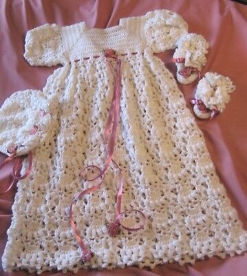 CROCHET PATTERN for 3-pc Christening Gown Set by REBECCA LEIGH - NB/6 -12/18M