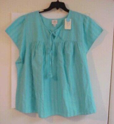 Women's St Johns Bay AQUA SAIL short sleeve Top Shirt  NWT  Plus SIZE 4X Cruise Top Shirt