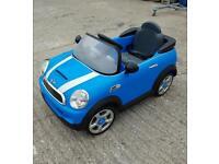 Battery powered blue mini cooper s 6v