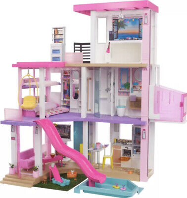 Barbie DreamHouse 3.75-ft With Pool Slide, Elevator, Lights 75+ Pieces NEW 2021