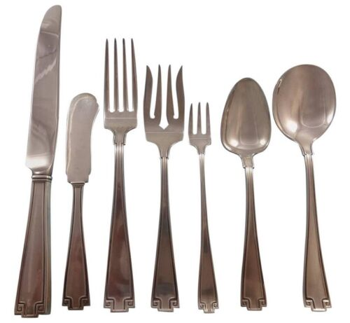 Etruscan By Gorham Sterling Silver Flatware Set For 8 Service 61 Pieces