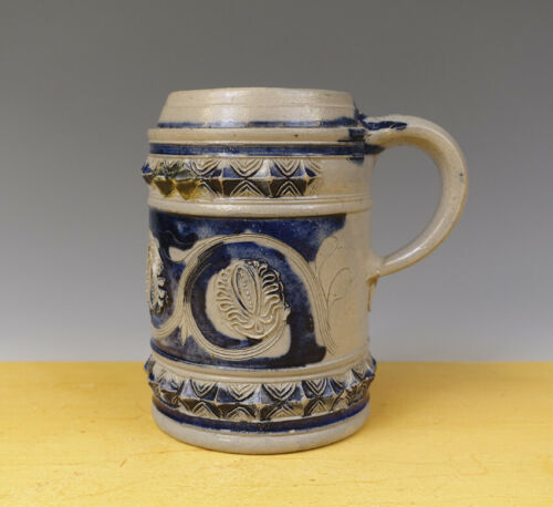 Antique Excellent German Westerwald Tankard Floral + Ornamental 18TH C.
