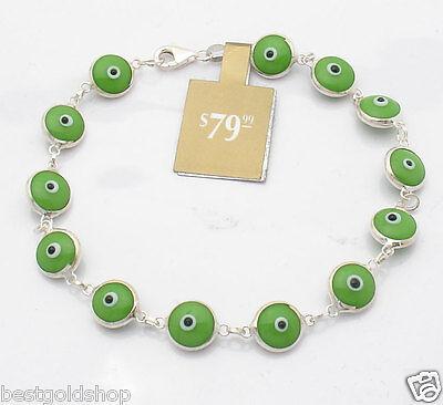 Bead Bracelet Ideas (Solid Green Evil Eye Bead Luck Bracelet Real 925 Sterling Silver Great Gift)