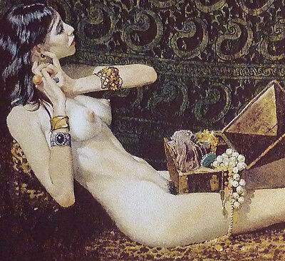 "20"" FRINGED NEEDLEPOINT CLASSIC ART WOVEN PAINTING NUDE: JULIE & JEWELRY"