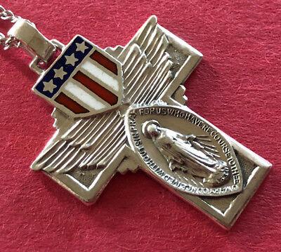 Antique Catholic Religious Holy Medal - STERLING ENAMEL FLAG SCAPULAR CROSS
