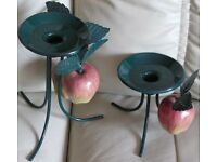 Set of 2- pretty, decorative CANDLE HOLDERS, taper/pillar candles, dark green with apples - NEW/tag