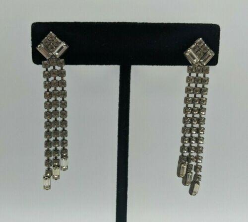 Vintage Silver Tone Clear Rhinestone Dangle Fringe Pierced Earrings Statement