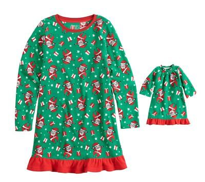 Girl and Doll Matching Santa Christmas Nightgown Clothes American Girl Dollie Me
