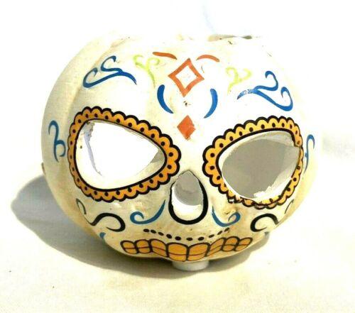 Day of the Dead Pumpkin Tea Light Holder White Orange Blue Green 2