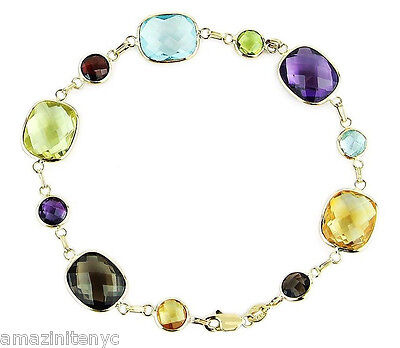 14K Yellow Gold Station Bracelet With Round & Cushion Cut Gemstones 7.5 Inches
