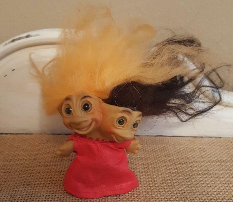 """Vintage 1965 Uneeda 3 """" Two Headed Troll Doll , Brown & Orange Hair"""