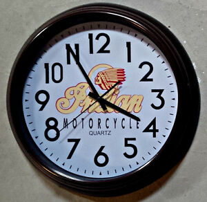 "VINTAGE STYLE INDIAN MOTORCYCLE 16"" INCH WALL CLOCK"