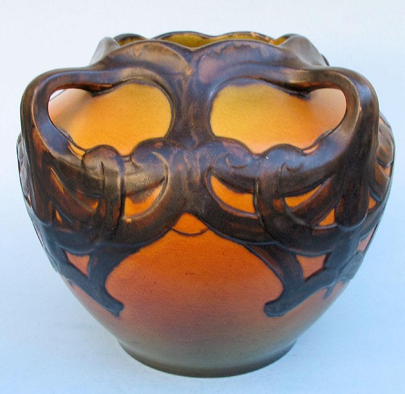 3 HANDLE ART NOUVEAU KAREN HAGEN VASE IPSEN Pottery Denmark