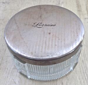Antiquité Collection Ancien pot à crème verre-chrome Lorraine