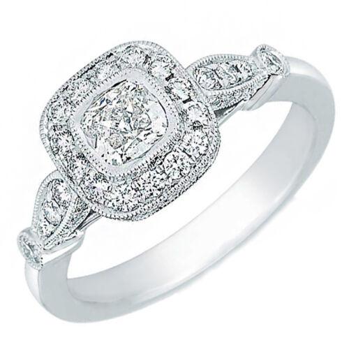 1 carat Cushion Cut GIA Certified Diamond Engagement Halo Style Ring 18k Whit...