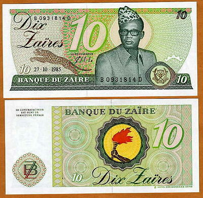 Zaire, 10 zaires, 1985, Pick 27 (27A) UNC > Mobutu, Leopard for sale  Shipping to Ireland