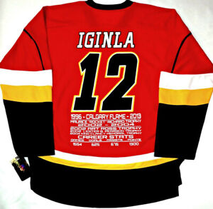 JAROME IGINLA CALGARY FLAMES LICENSED CAREER STATS/AWARDS JERSEY