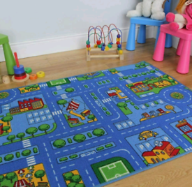 Extra large childrens blue cars and roads rug - brand new