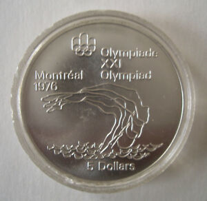 Canada 1976 Olympic $5.00 Silver Coin ~ Diving Peterborough Peterborough Area image 1