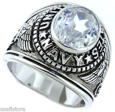 Navy Mens Ring - Clear April Stones US Navy Military Rhodium EP Mens Ring
