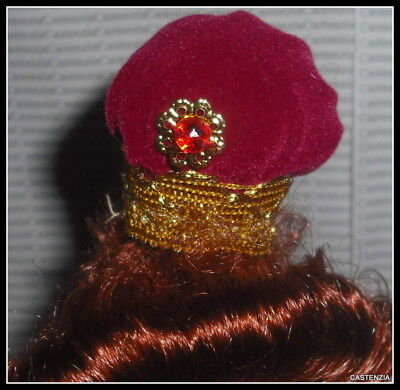 HAT BARBIE DOLL ELIZABETHAN  GREAT ERAS VELVET GOLD TRIM BUN BONNET ACCESSORY (Clothing Elizabethan Era)