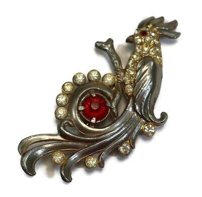 ANTIQUE Silver Tone Crystal and Large Ruby Rhinestone Parrot Bird Pin Brooch Antique Silver Tone Brooch