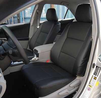 TOYOTA CAMRY 2012-2016 BLACK LEATHER-LIKE CUSTOM FIT FRONT SEAT COVER Blk Leather Like Cover