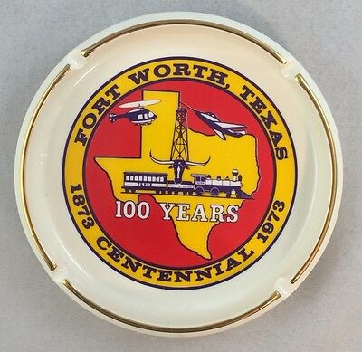 Rare Fort Worth Texas Centennial Ashtray 1973 Texas and Pacific Railroad