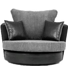 Grey jumbo cord swivel cuddle chair New free local delivery