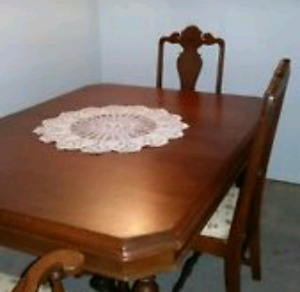 Walnut China cabinet and matching table w/chairs