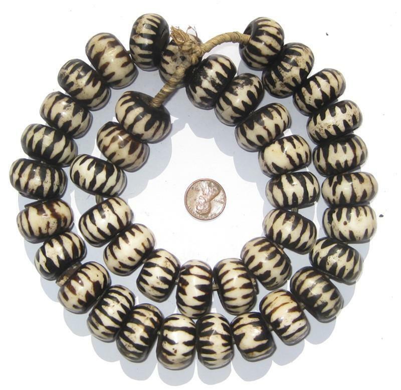 Chevron Design Batik Bone Beads Large 25mm Kenya African Black and White Round
