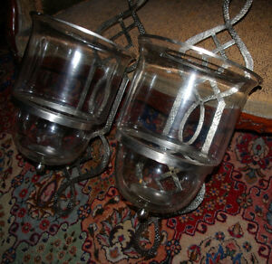 Pair of HUGE Nickel Hurricane Candle Sconces- virgin condition West Island Greater Montréal image 6