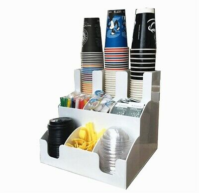 Cup Lid Dispenser Organizer Coffee Condiment Holder Caddy Coffee Cup 9 Rack Rc